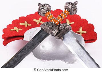capacete, espadas