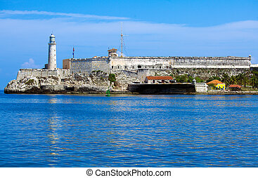 Morro Castle, fortress guarding the entrance to Havana bay,...
