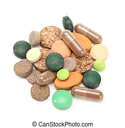vitamins, pills and tablets