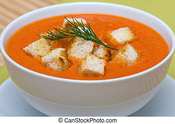 Tomato cream soup - Delicious homemade gazpacho in white...