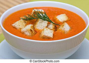 Tomato cream soup - Delicious homemade gazpacho in white...