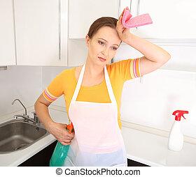 cansado, ama de casa, cocina