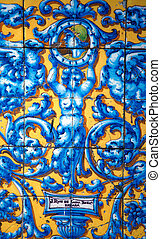 Vintage Porcelain tile ?f 19th. century on the wall of old...