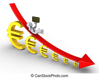 Businessman falling from descending graph and euros get...