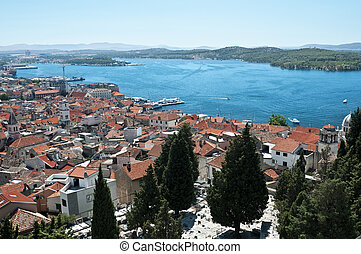 Sibenik - Croatia. Wide angle view over the city and bay