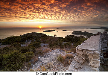 Sunset in Croatia - Sunset view over Adriatic sea from the...