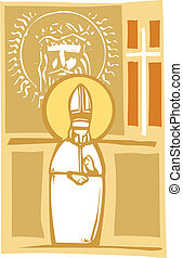 Pope and Christian Images - Woodcut style image of the...