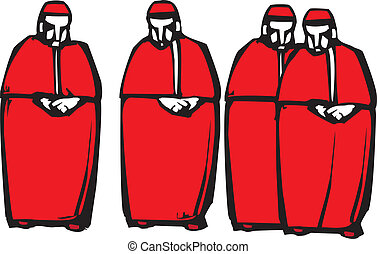 Cardinals - Woodcut style image of four Catholic Cardinals.