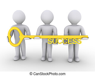 Team is holding key of success - Three 3d people are holding...