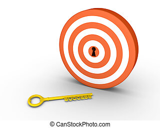 Target with keyhole and success-key on the ground