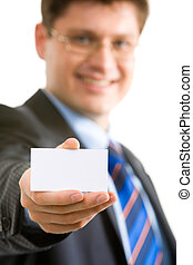 Showing business card - Close up of businessman with holding...