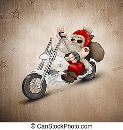 Motorized Santa Claus - Santa Claus rides a motorcycle for...
