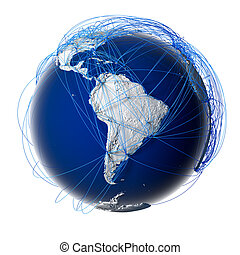 Major global aviation routes on the globe - Earth with...