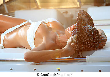 Young and sexy bikini model - Young and sexy woman in white...