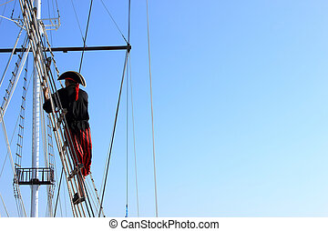 Pirate on ship  looking away