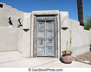 Pueblo Doorway - Weathered rustic Pueblo rustic doorway....