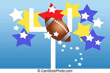 touchdown - illustration of a football flying over a...