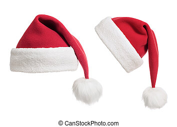 Santas hats or caps collection isolated on white