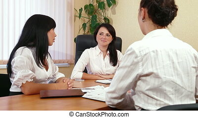 Casual Business Meeting - Friendly Business Women Discussing...