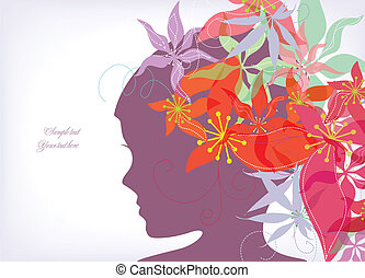 Romantic flower with girl background. Vector