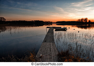 Scandinavian sunset at a lake in Ostergotland, Sweden