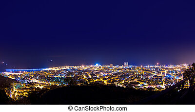Aerial night Santa Cruz de Tenerife Canary Islands - Aerial...