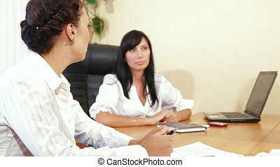 Business Discussion - Two businesswomen discussing with...