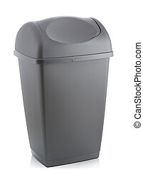 grey bin - grey flip lid bin isolated on white background