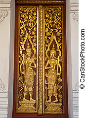Temple gate - Gate measure of the angels Wat Luang Lumphun,...