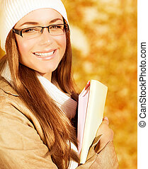Cheerful student girl - Image of cheerful student girl spend...