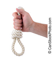 noose - hand holding white rope noose
