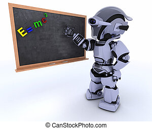 Robot with school chalk board - 3D render of a Robot with...