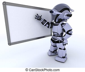 Robot with White class room drywipe marker board - 3D render...