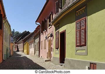 Sighisoara - street scenery in Sighisoara, a city in...