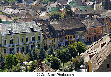 Sighisoara - aerial view of Sighisoara, a city in...
