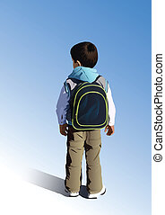 Little student is going to school
