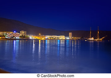 Beach los Cristianos night view in Tenerife Adeje - Beach...