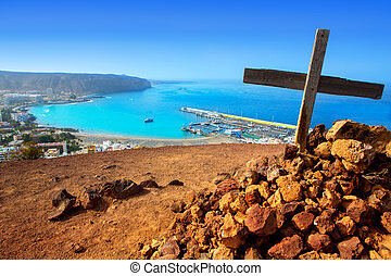 Los Cristianos beach in Arona Tenerife south - Aerial view...