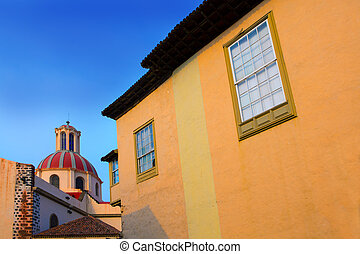 La Orotava Concepcion church red dome an village in Tenerife...