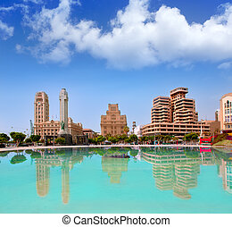 Santa Cruz de Tenerife in Plaza de Espana lake at Canary...