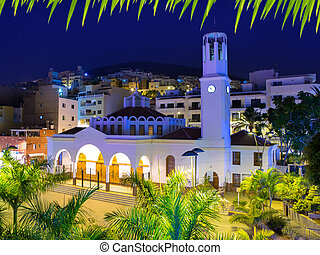 Los Cristianos night church in Tenerife Arona Adeje coast...