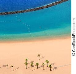 Beach Las Teresitas in Santa cruz de Tenerife north at...