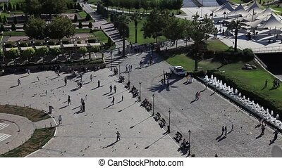 konak square at Smyrna turkey, pan shoot