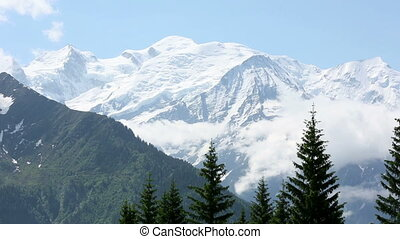 Mont Blanc mountain massif Chamonix valley, France, view...