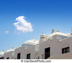 Adeje Costa coast Paraiso in Tenerife white houses at Canary...