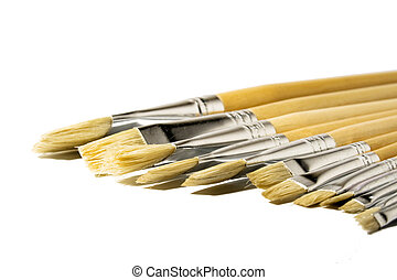 Paintbrushes in a row