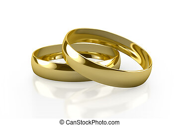 wedding rings - couple of gold wedding rings on white...