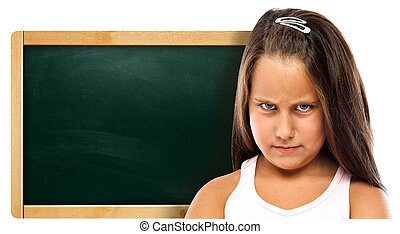 Pissed Children with a Green Chalkboard Isolated on White