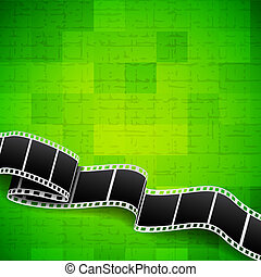 Abstract green background with film reel