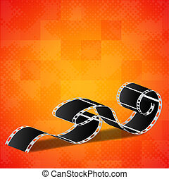 Orange background with film reel
